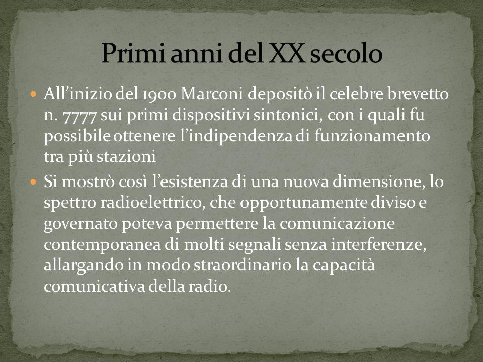 Allinizio del 1900 Marconi depositò il celebre brevetto n. 7777 sui primi dispositivi sintonici, con i quali fu possibile ottenere lindipendenza di fu