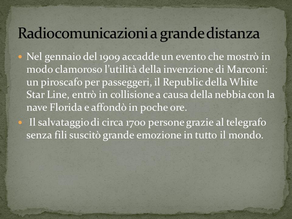 Nel gennaio del 1909 accadde un evento che mostrò in modo clamoroso lutilità della invenzione di Marconi: un piroscafo per passeggeri, il Republic del