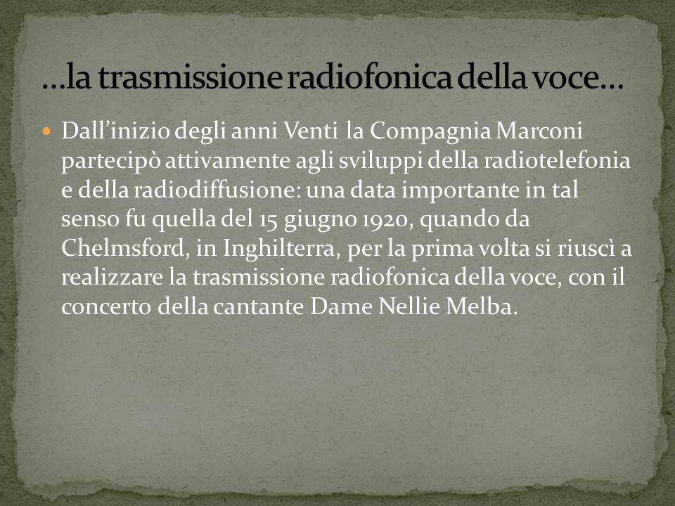 Dallinizio degli anni Venti la Compagnia Marconi partecipò attivamente agli sviluppi della radiotelefonia e della radiodiffusione: una data importante