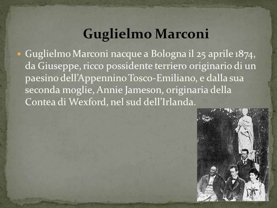 Guglielmo Marconi nacque a Bologna il 25 aprile 1874, da Giuseppe, ricco possidente terriero originario di un paesino dellAppennino Tosco-Emiliano, e