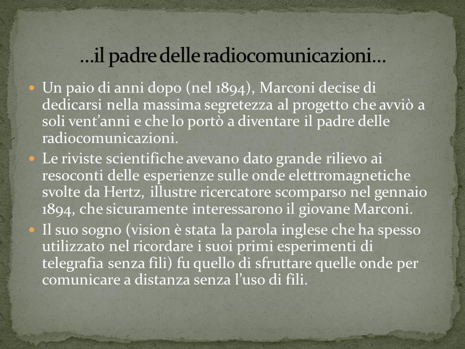 Un paio di anni dopo (nel 1894), Marconi decise di dedicarsi nella massima segretezza al progetto che avviò a soli ventanni e che lo portò a diventare