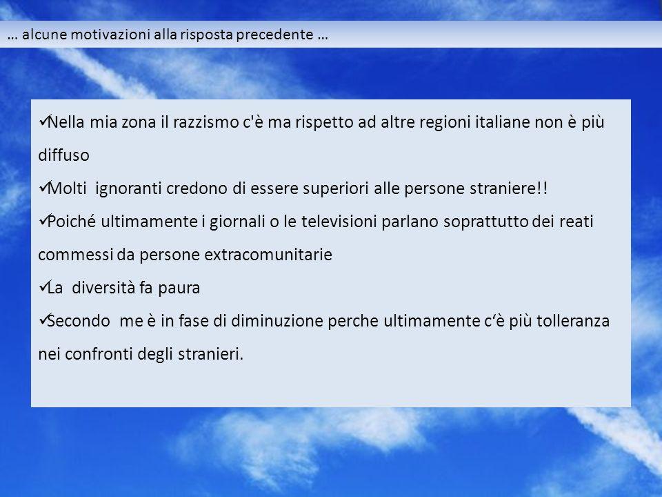 … alcune motivazioni alla risposta precedente … Nella mia zona il razzismo c è ma rispetto ad altre regioni italiane non è più diffuso Molti ignoranti credono di essere superiori alle persone straniere!.