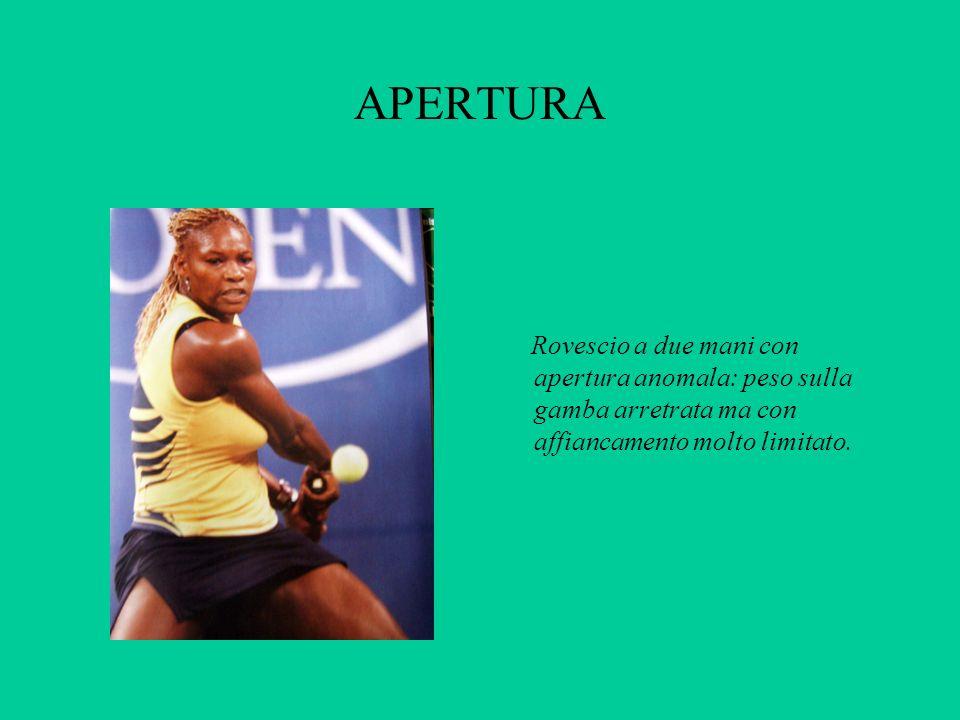 APERTURA Rovescio a due mani con apertura anomala: peso sulla gamba arretrata ma con affiancamento molto limitato.