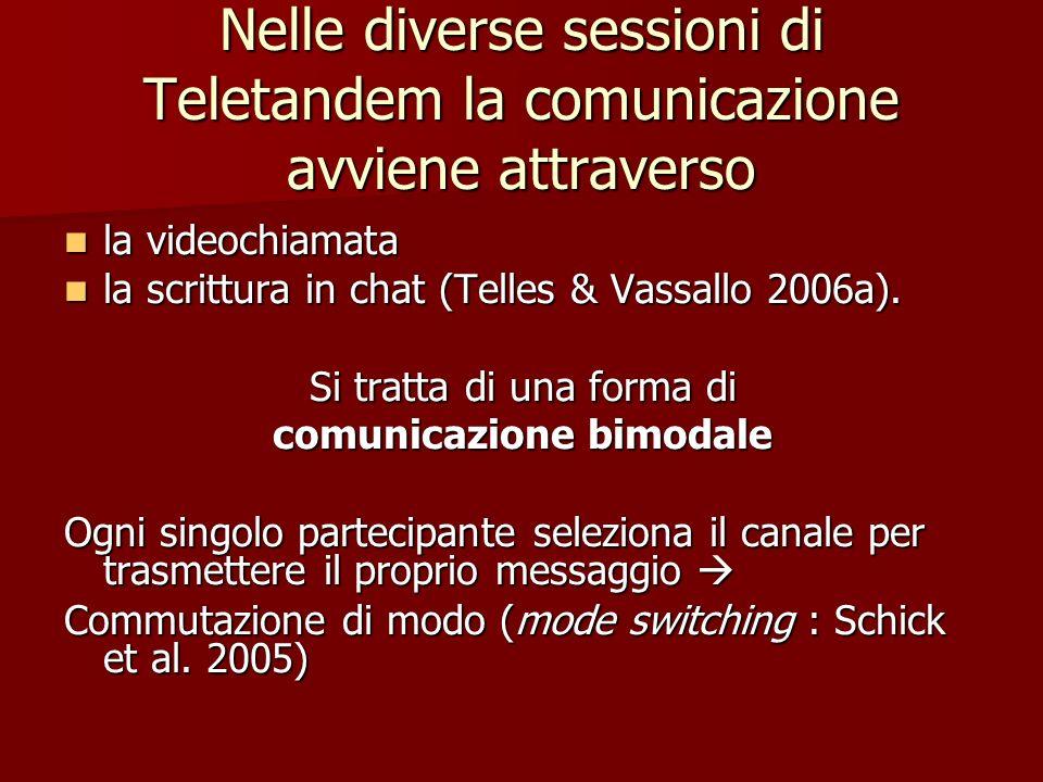Nelle diverse sessioni di Teletandem la comunicazione avviene attraverso la videochiamata la videochiamata la scrittura in chat (Telles & Vassallo 200