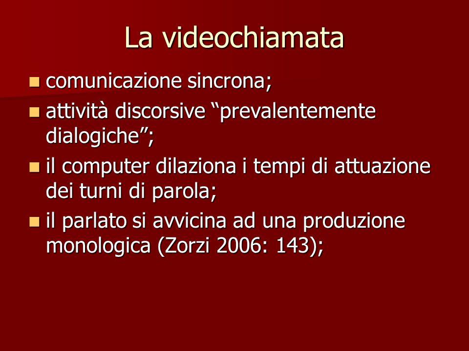 La videochiamata comunicazione sincrona; comunicazione sincrona; attività discorsive prevalentemente dialogiche; attività discorsive prevalentemente d