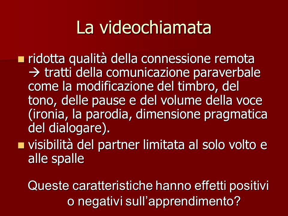 La videochiamata ridotta qualità della connessione remota tratti della comunicazione paraverbale come la modificazione del timbro, del tono, delle pau