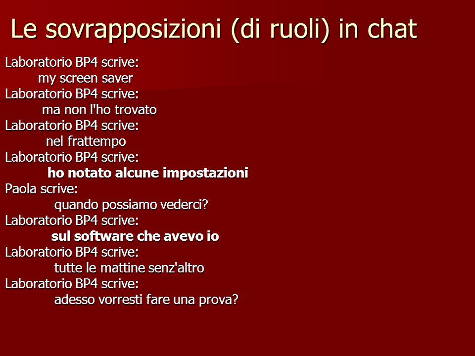 Le sovrapposizioni (di ruoli) in chat Laboratorio BP4 scrive: my screen saver my screen saver Laboratorio BP4 scrive: ma non l'ho trovato ma non l'ho