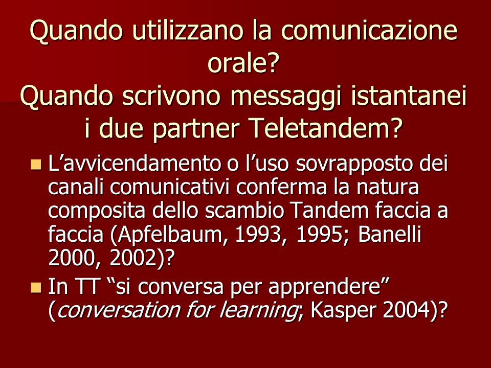 Quando utilizzano la comunicazione orale? Quando scrivono messaggi istantanei i due partner Teletandem? Lavvicendamento o luso sovrapposto dei canali