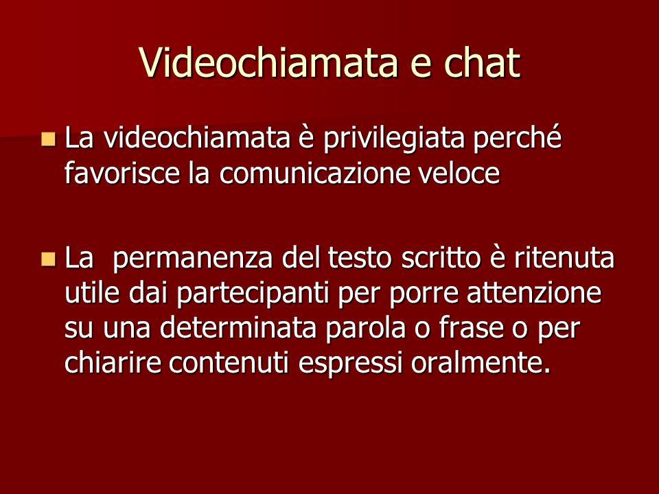 Videochiamata e chat La videochiamata è privilegiata perché favorisce la comunicazione veloce La videochiamata è privilegiata perché favorisce la comu