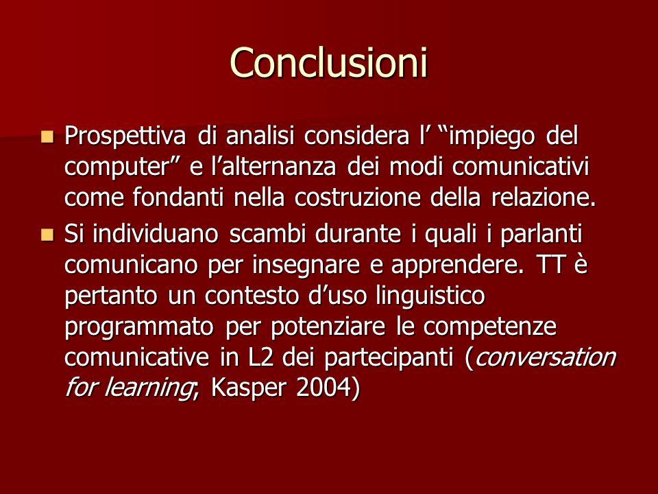 Conclusioni Prospettiva di analisi considera l impiego del computer e lalternanza dei modi comunicativi come fondanti nella costruzione della relazion
