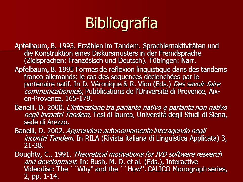 Bibliografia Apfelbaum, B. 1993. Erzählen im Tandem. Sprachlernaktivitäten und die Konstruktion eines Diskursmusters in der Fremdsprache (Zielsprachen
