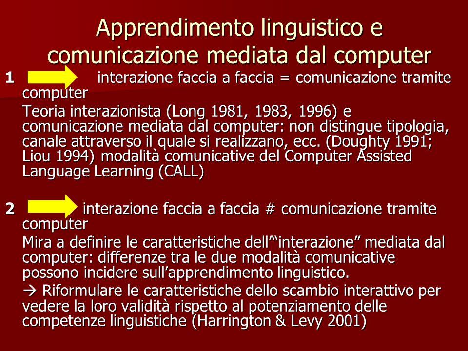 Apprendimento linguistico e comunicazione mediata dal computer 1 interazione faccia a faccia = comunicazione tramite computer Teoria interazionista (L