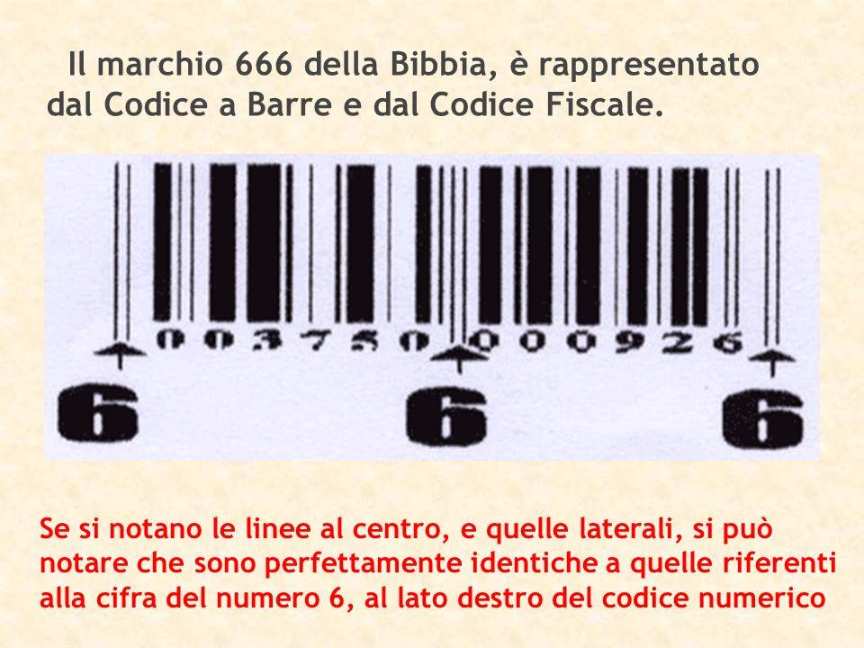Il marchio 666 della Bibbia, è rappresentato dal Codice a Barre e dal Codice Fiscale.