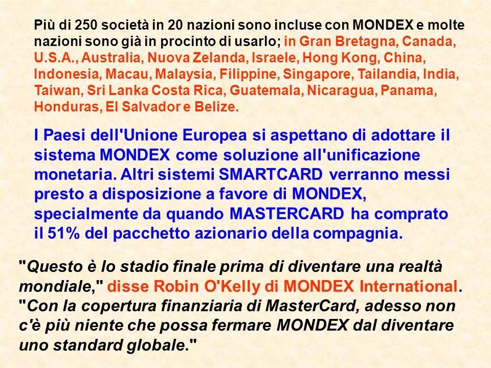 I Paesi dell Unione Europea si aspettano di adottare il sistema MONDEX come soluzione all unificazione monetaria.