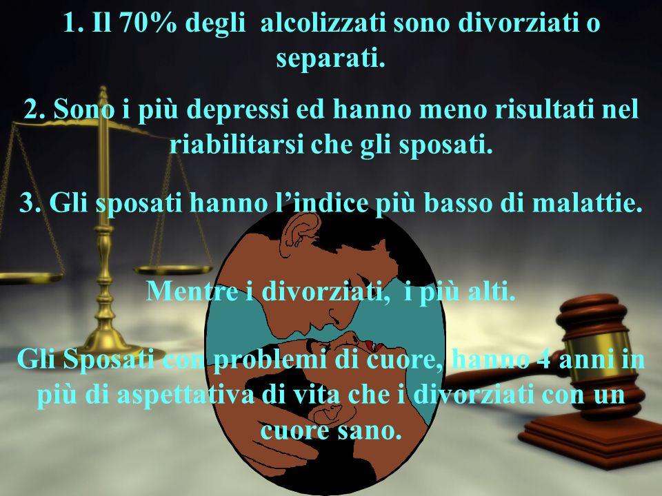 1. Il 70% degli alcolizzati sono divorziati o separati.