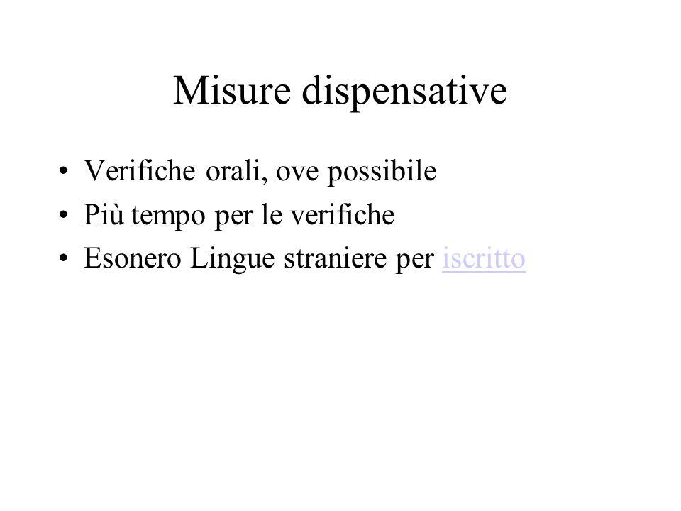 Misure dispensative Verifiche orali, ove possibile Più tempo per le verifiche Esonero Lingue straniere per iscrittoiscritto