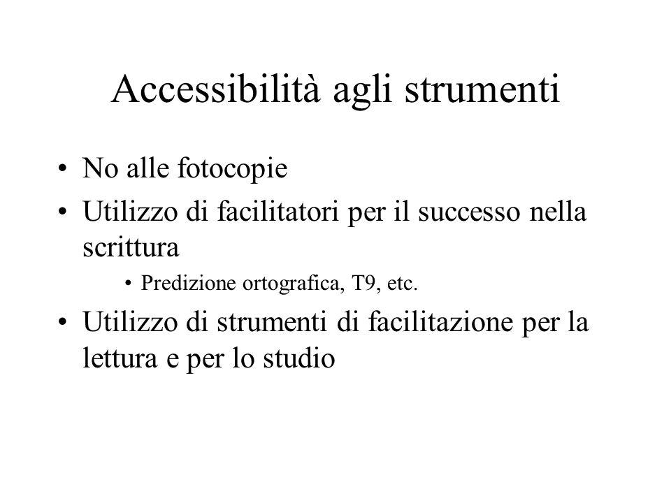 Accessibilità agli strumenti No alle fotocopie Utilizzo di facilitatori per il successo nella scrittura Predizione ortografica, T9, etc. Utilizzo di s