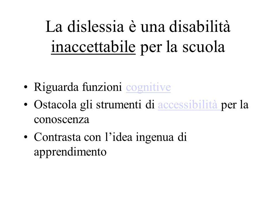 La dislessia è una disabilità inaccettabile per la scuola Riguarda funzioni cognitivecognitive Ostacola gli strumenti di accessibilità per la conoscen
