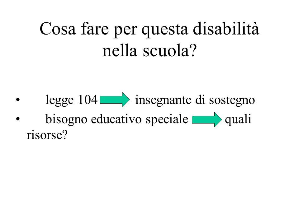 Cosa fare per questa disabilità nella scuola? legge 104insegnante di sostegno bisogno educativo specialequali risorse?