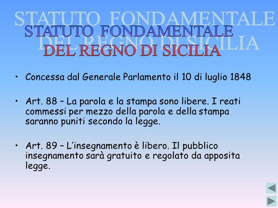 Concessa dal Generale Parlamento il 10 di luglio 1848 Art. 88 – La parola e la stampa sono libere. I reati commessi per mezzo della parola e della sta