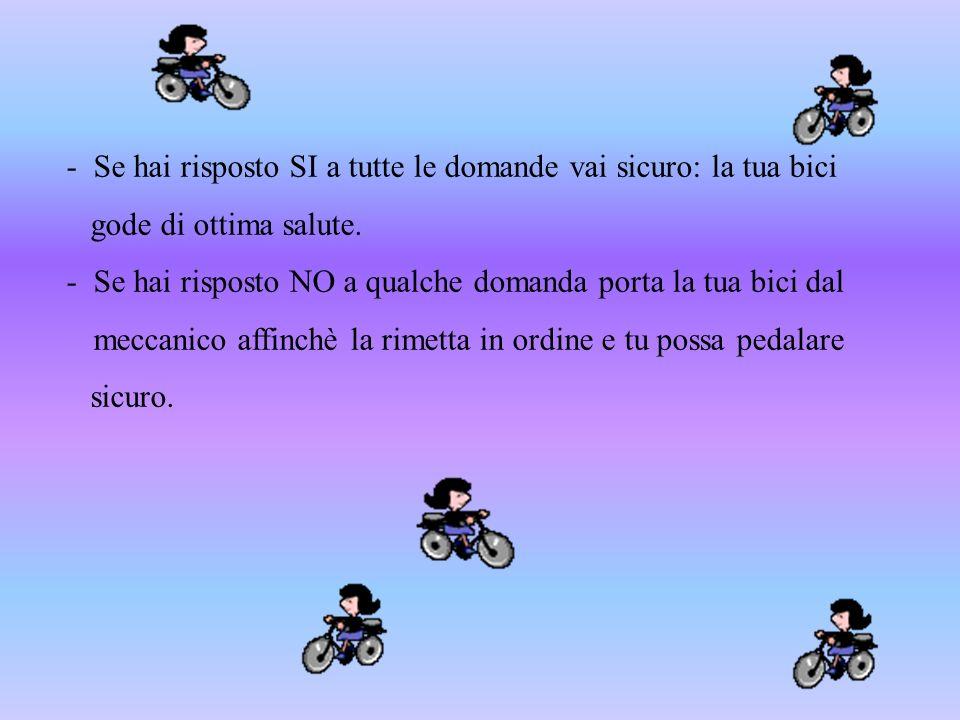 - Se hai risposto SI a tutte le domande vai sicuro: la tua bici gode di ottima salute. - Se hai risposto NO a qualche domanda porta la tua bici dal me