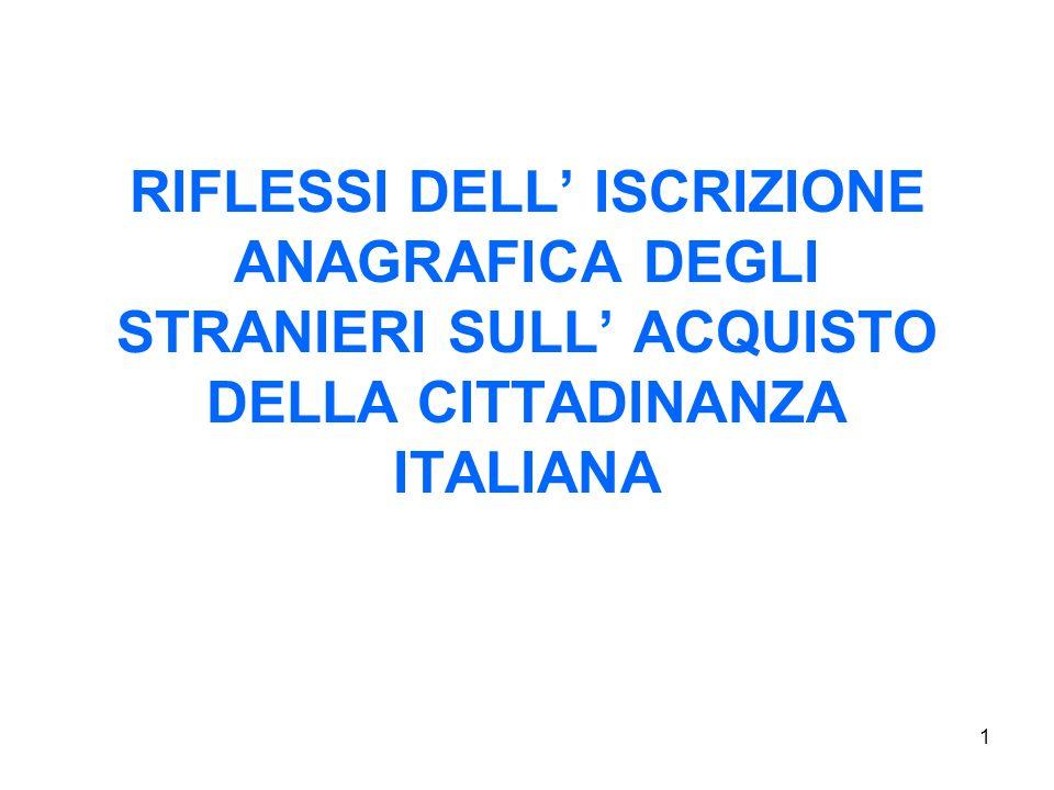 1 RIFLESSI DELL ISCRIZIONE ANAGRAFICA DEGLI STRANIERI SULL ACQUISTO DELLA CITTADINANZA ITALIANA
