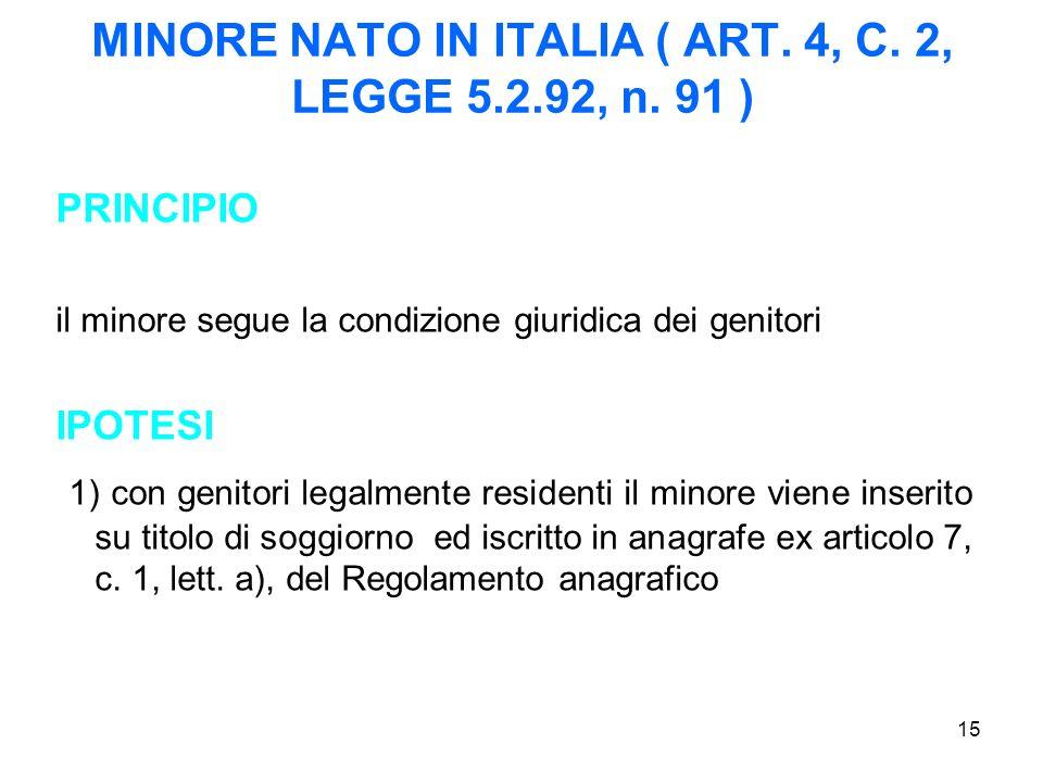 15 MINORE NATO IN ITALIA ( ART. 4, C. 2, LEGGE 5.2.92, n. 91 ) PRINCIPIO il minore segue la condizione giuridica dei genitori IPOTESI 1) con genitori