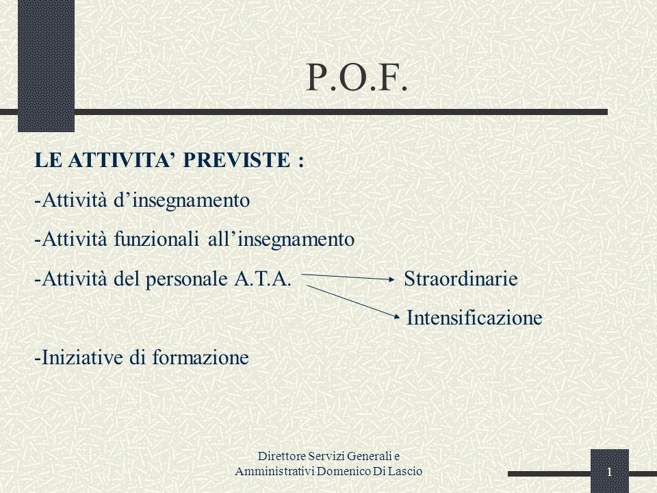Direttore Servizi Generali e Amministrativi Domenico Di Lascio1 P.O.F.