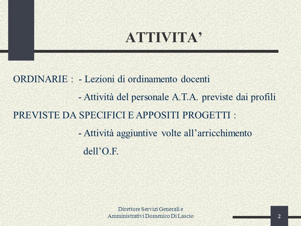 Direttore Servizi Generali e Amministrativi Domenico Di Lascio2 ATTIVITA ORDINARIE : - Lezioni di ordinamento docenti - Attività del personale A.T.A.
