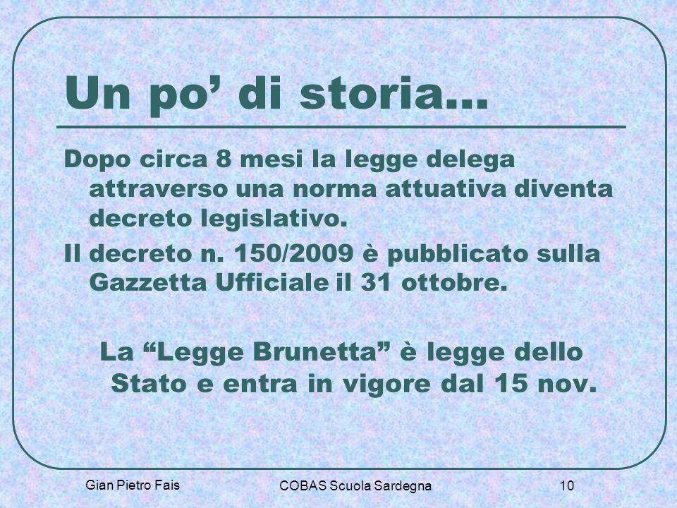 Gian Pietro Fais COBAS Scuola Sardegna 10 Un po di storia… Dopo circa 8 mesi la legge delega attraverso una norma attuativa diventa decreto legislativ