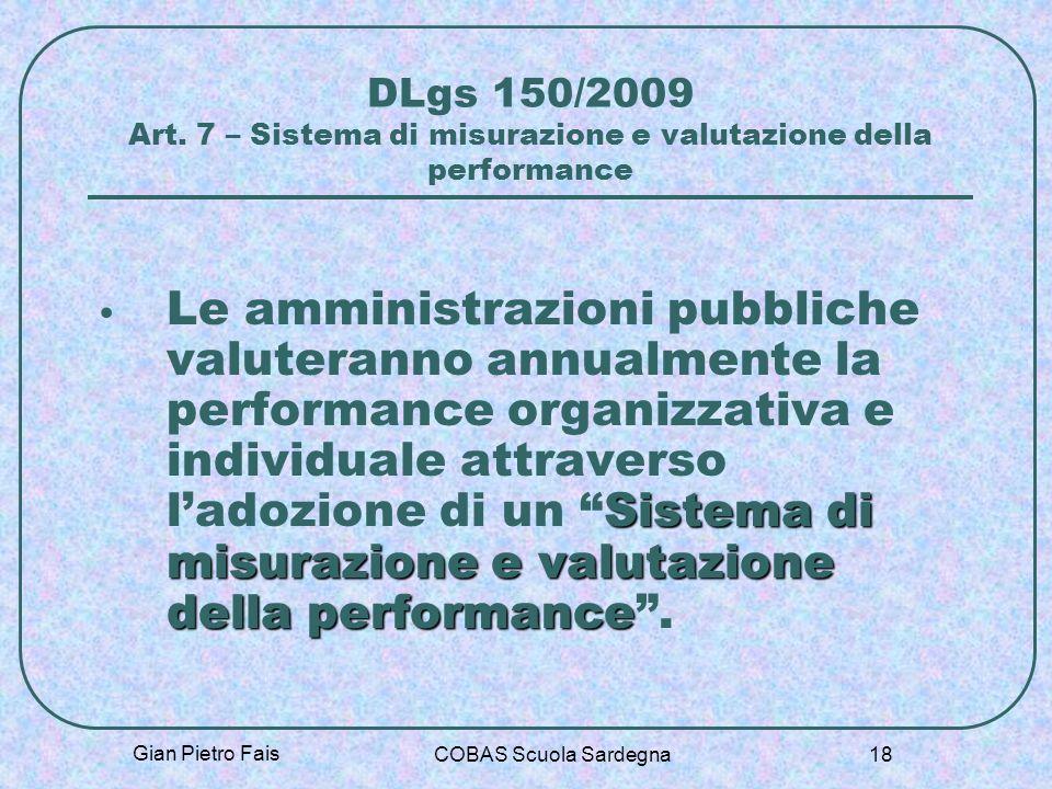Gian Pietro Fais COBAS Scuola Sardegna 18 DLgs 150/2009 Art. 7 – Sistema di misurazione e valutazione della performance Sistema di misurazione e valut