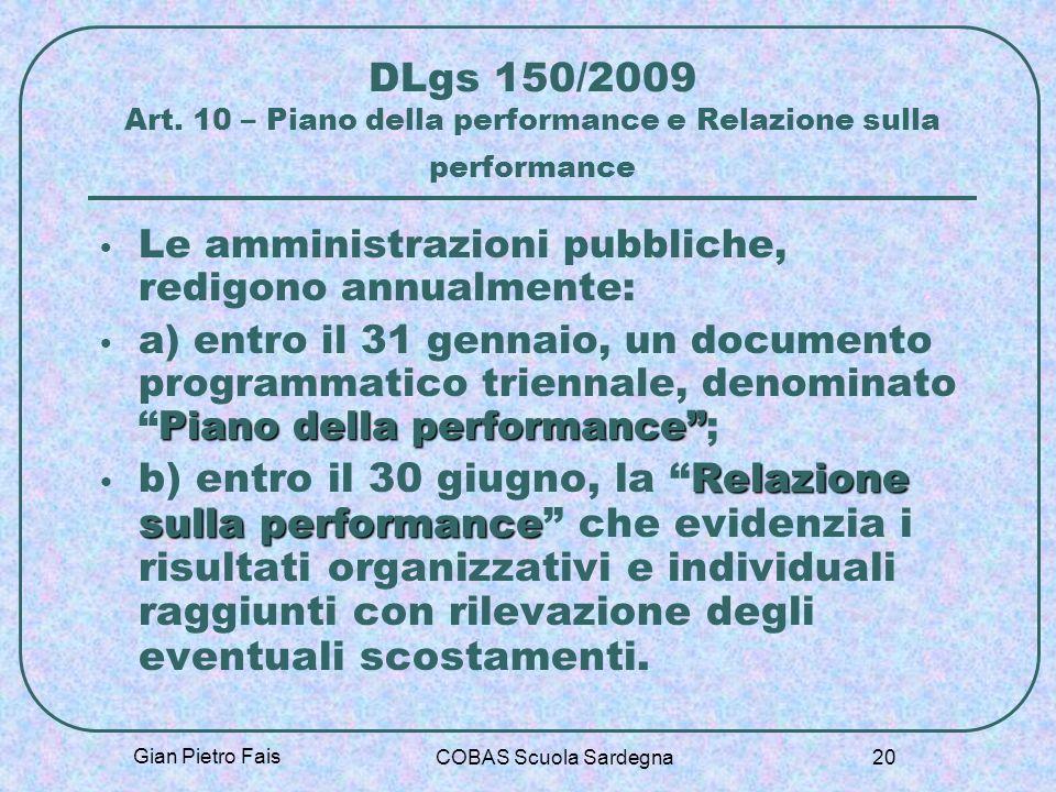 Gian Pietro Fais COBAS Scuola Sardegna 20 DLgs 150/2009 Art. 10 – Piano della performance e Relazione sulla performance Le amministrazioni pubbliche,