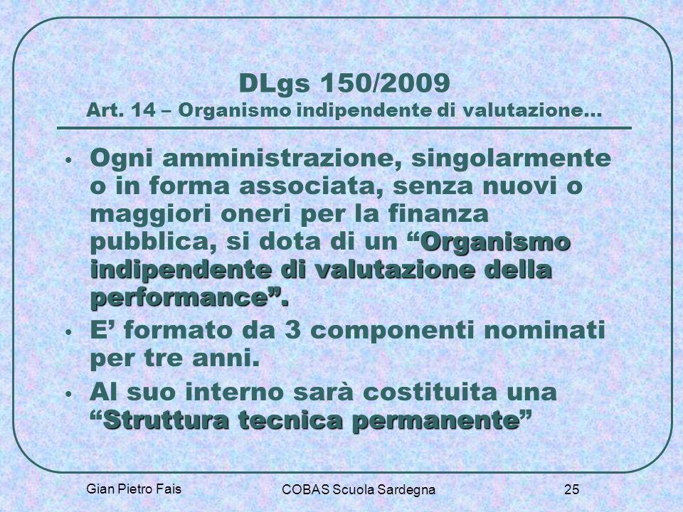 Gian Pietro Fais COBAS Scuola Sardegna 25 DLgs 150/2009 Art. 14 – Organismo indipendente di valutazione… Organismo indipendente di valutazione della p