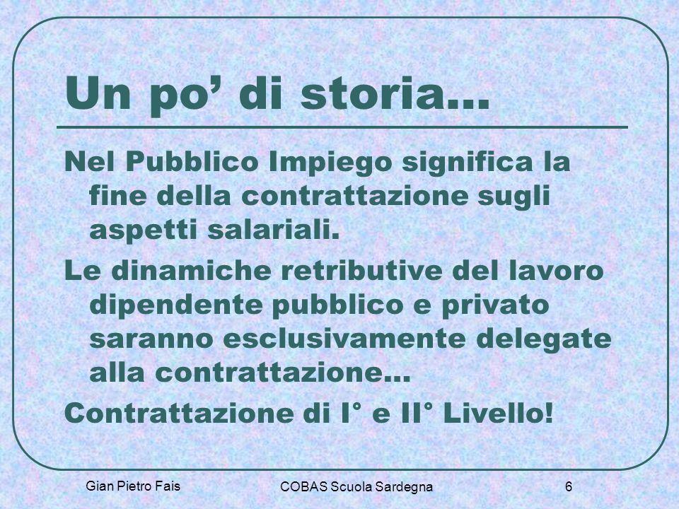 Gian Pietro Fais COBAS Scuola Sardegna 6 Un po di storia… Nel Pubblico Impiego significa la fine della contrattazione sugli aspetti salariali. Le dina