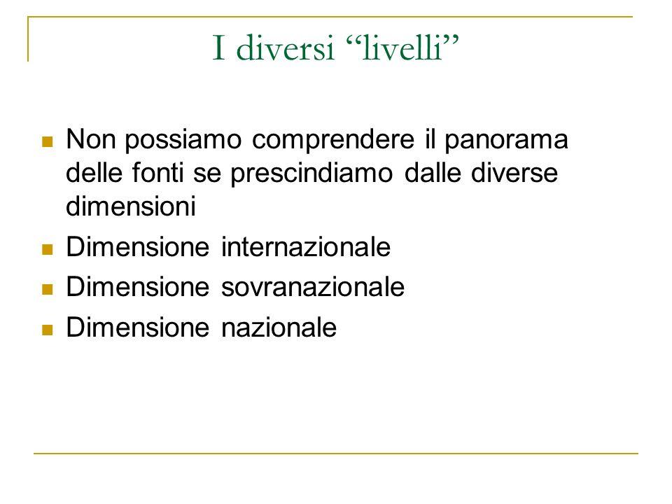 I diversi livelli Non possiamo comprendere il panorama delle fonti se prescindiamo dalle diverse dimensioni Dimensione internazionale Dimensione sovranazionale Dimensione nazionale