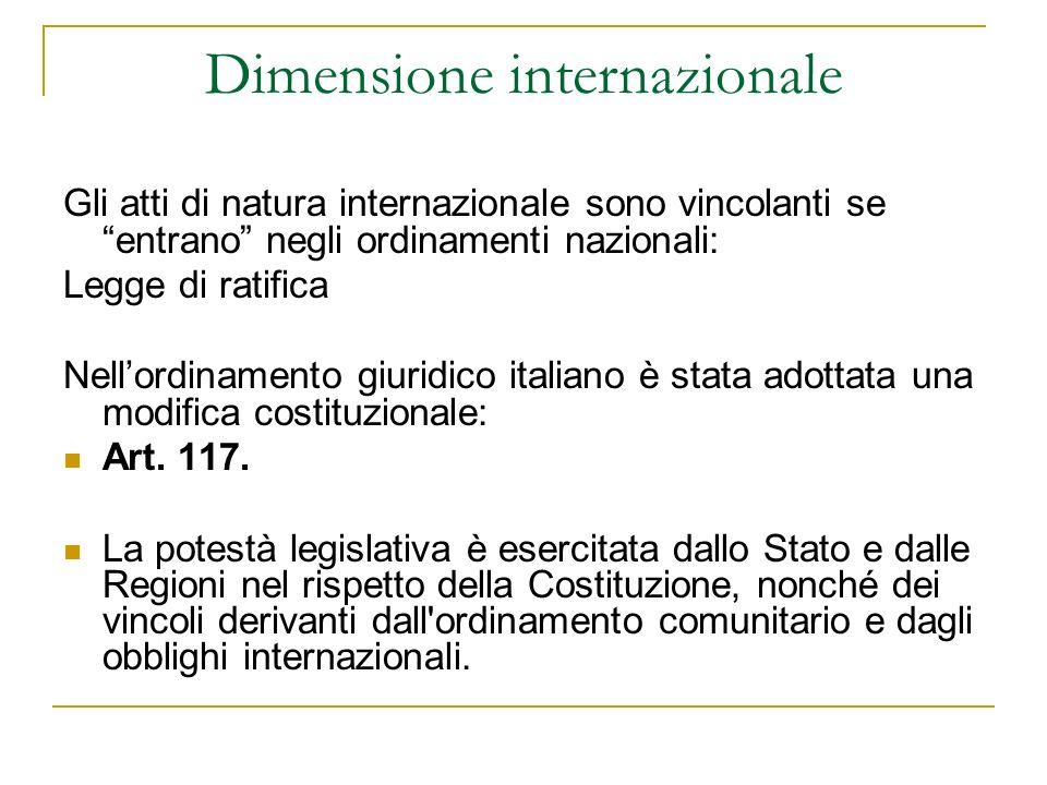 Dimensione internazionale Gli atti di natura internazionale sono vincolanti se entrano negli ordinamenti nazionali: Legge di ratifica Nellordinamento giuridico italiano è stata adottata una modifica costituzionale: Art.