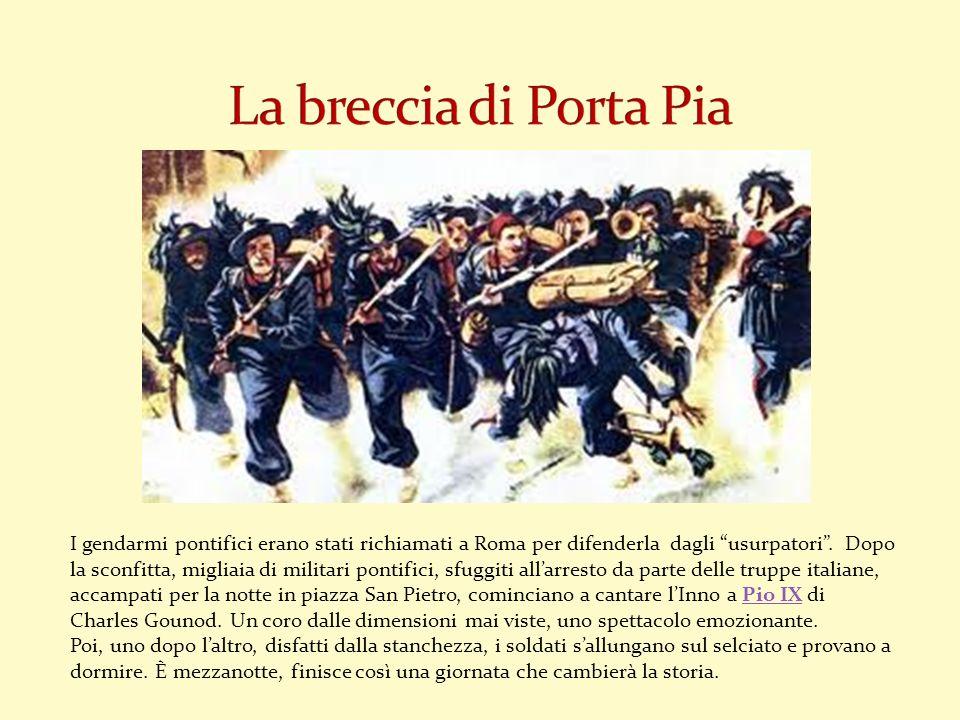 I gendarmi pontifici erano stati richiamati a Roma per difenderla dagli usurpatori. Dopo la sconfitta, migliaia di militari pontifici, sfuggiti allarr