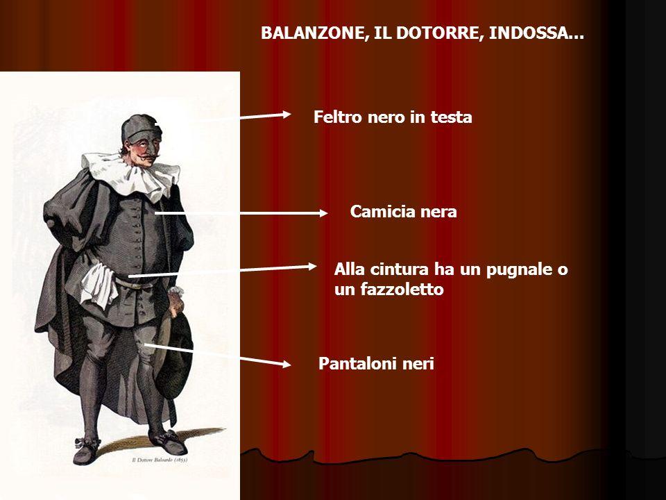 BALANZONE, IL DOTORRE, INDOSSA... Camicia nera Pantaloni neri Feltro nero in testa Alla cintura ha un pugnale o un fazzoletto