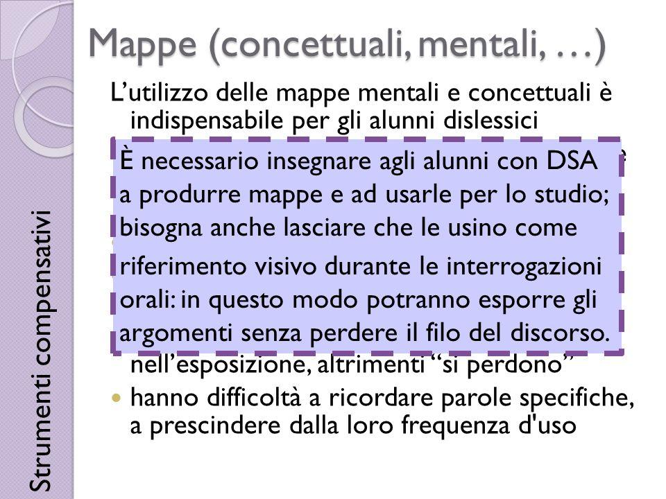 Mappe (concettuali, mentali, …) Lutilizzo delle mappe mentali e concettuali è indispensabile per gli alunni dislessici hanno bisogno di concetti-chiav