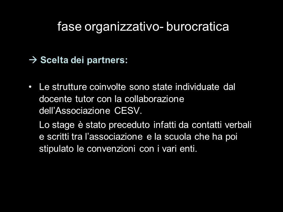 Scelta dei partners: Le strutture coinvolte sono state individuate dal docente tutor con la collaborazione dellAssociazione CESV.