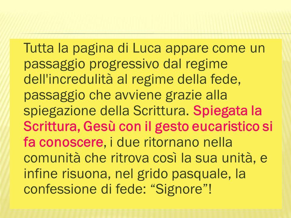 Tutta la pagina di Luca appare come un passaggio progressivo dal regime dell'incredulità al regime della fede, passaggio che avviene grazie alla spieg