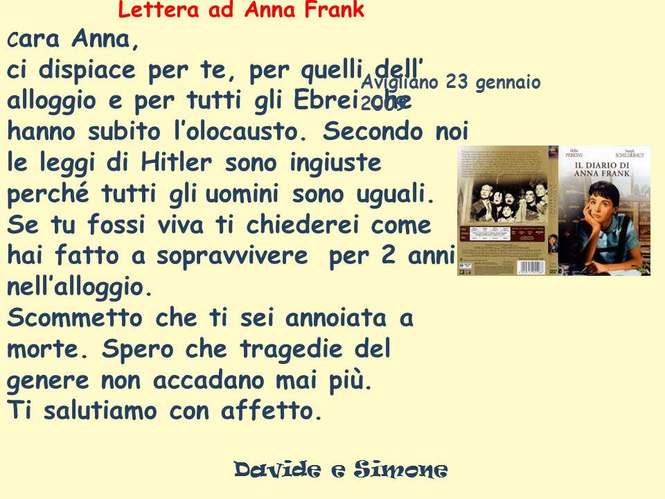Lettera ad Anna Frank C ara Anna, ci dispiace per te, per quelli dell alloggio e per tutti gli Ebrei che hanno subito lolocausto.