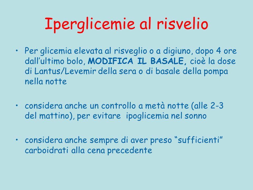 Iperglicemie al risvelio Per glicemia elevata al risveglio o a digiuno, dopo 4 ore dallultimo bolo, MODIFICA IL BASALE, cioè la dose di Lantus/Levemir