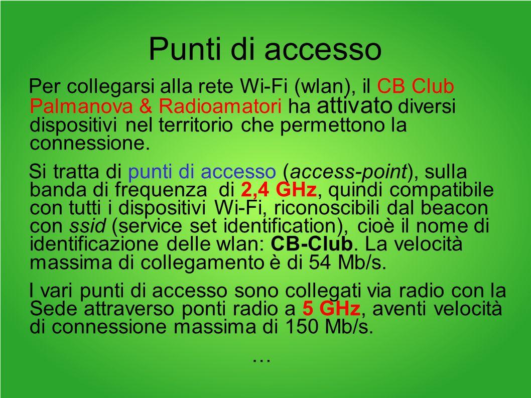 Punti di accesso Per collegarsi alla rete Wi-Fi (wlan), il CB Club Palmanova & Radioamatori ha attivato diversi dispositivi nel territorio che permettono la connessione.