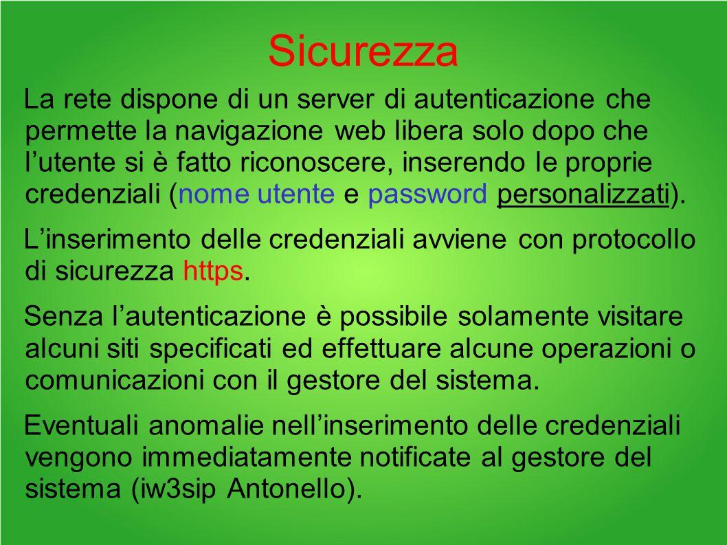 Sicurezza La rete dispone di un server di autenticazione che permette la navigazione web libera solo dopo che lutente si è fatto riconoscere, inserendo le proprie credenziali (nome utente e password personalizzati).
