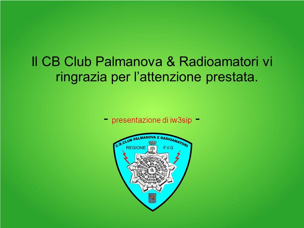 Il CB Club Palmanova & Radioamatori vi ringrazia per lattenzione prestata.