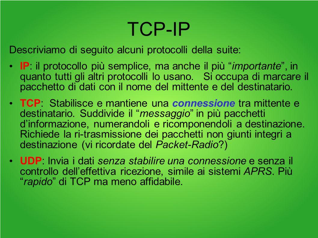 TCP-IP Descriviamo di seguito alcuni protocolli della suite: IP: il protocollo più semplice, ma anche il più importante, in quanto tutti gli altri protocolli lo usano.