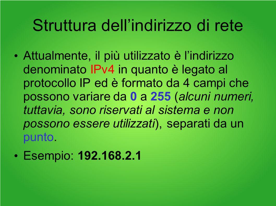 Struttura dellindirizzo di rete Attualmente, il più utilizzato è lindirizzo denominato IPv4 in quanto è legato al protocollo IP ed è formato da 4 campi che possono variare da 0 a 255 (alcuni numeri, tuttavia, sono riservati al sistema e non possono essere utilizzati), separati da un punto.