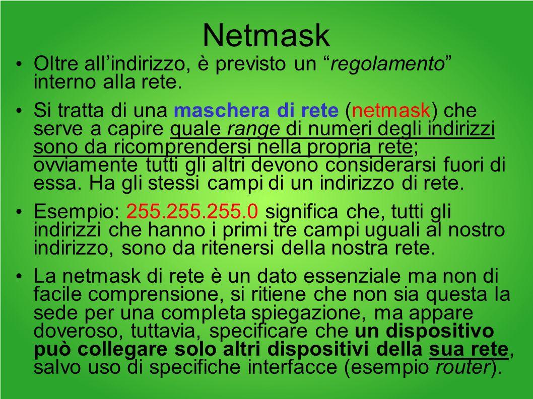 Netmask Oltre allindirizzo, è previsto un regolamento interno alla rete.