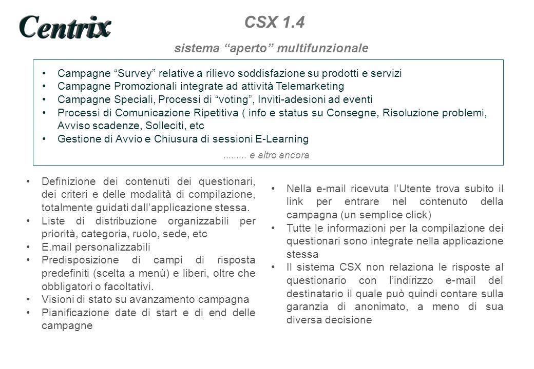 Customer Survey XProcess CSX1.4 non poniamo limiti al suo utilizzo Sistema aperto Gestione Campagne Survey Gestione Campagne Promozionali Gestione Messaggi Informativi Gestione Conferme su Risoluzione Problemi Gestione Avvio e Chiusura di sessioni E-Learning.........